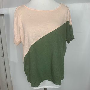 Bordeaux Pink Army Green Linen Cropped Shirt Top